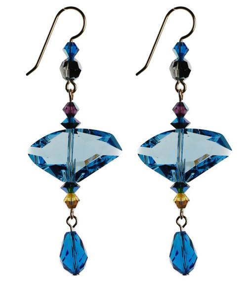 Modern Swarovski crystal earrings with Aqua blue center - 14K gold filled metal