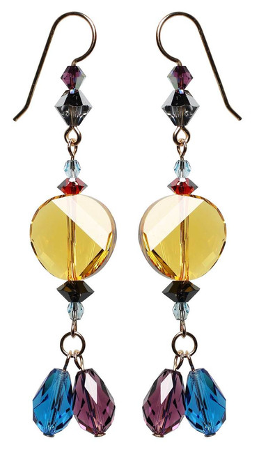 Color block earrings with rare Swarovski crystal - 14K gold filled metal