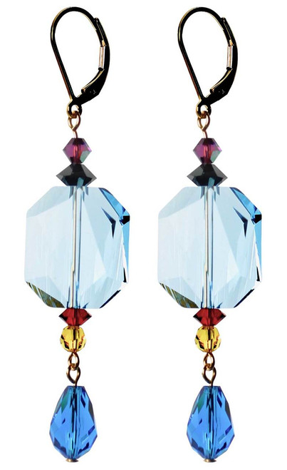 Shades of blue crystal earrings - Swarovski crystal - 14K gold filled metal