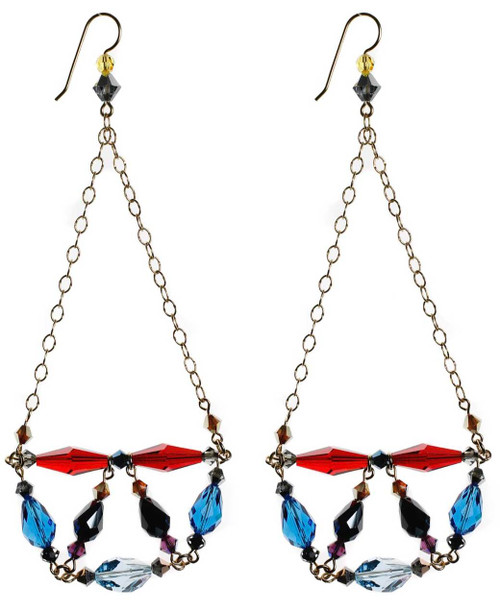 Colorful shoulder duster crystal earrings - 14K gold filled metal