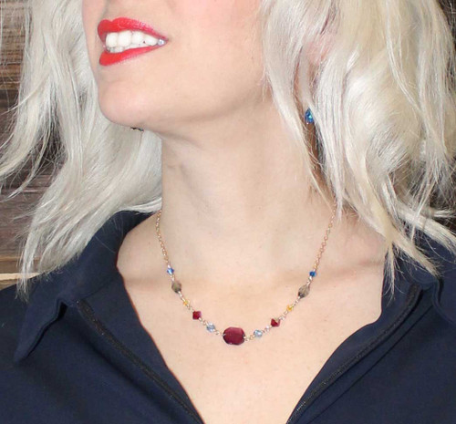 Crystal necklace with chain -14K gold filled wire and chain mixed with Swarovski crystals from the Navajo collection