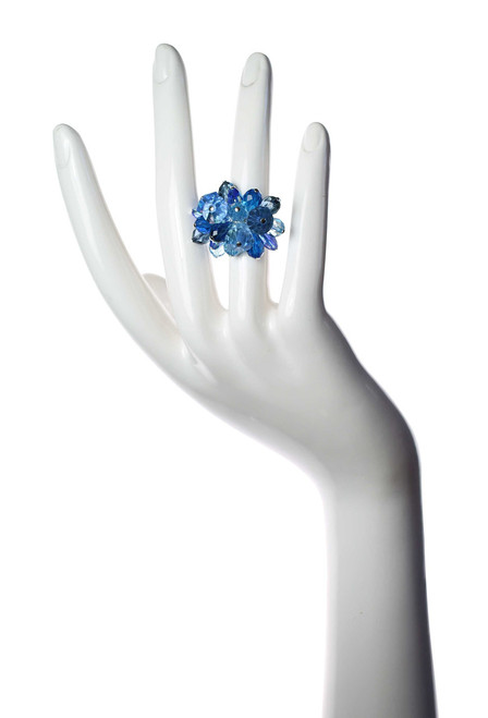 Sterling Silver Swarovski Crystal  Blue Cocktail Ring