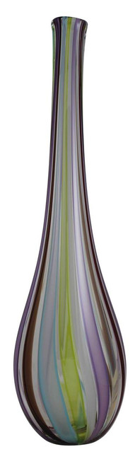 This one of a kind hand blown glass vase in avant garde collection has an amazing color scheme paired with a sexy flared shape