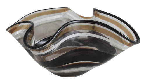 Safari Color inspired one of a kind hand blown cane floppy bowl