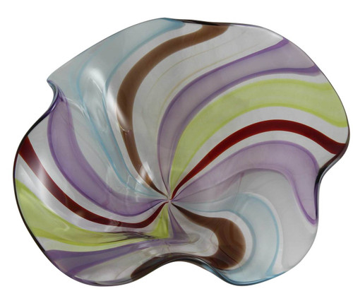 Hand Blown Luxurious Art Glass Centerpiece - One of a Kind Colorful Bowl