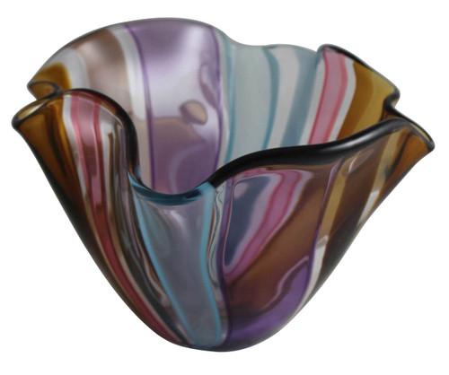 Hand Blown Colorful Art Glass Floppy Bowl