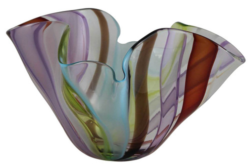 colorful striped cane bowl hand blown in nyc makes the perfect decorative accent as your centerpiece.