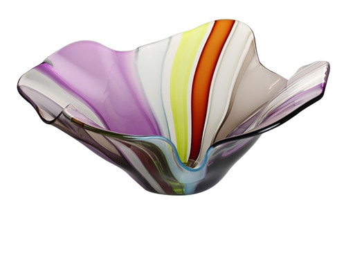 This one of a kind hand blown glass bowl has an amazing color scheme paired with a sexy flared shape
