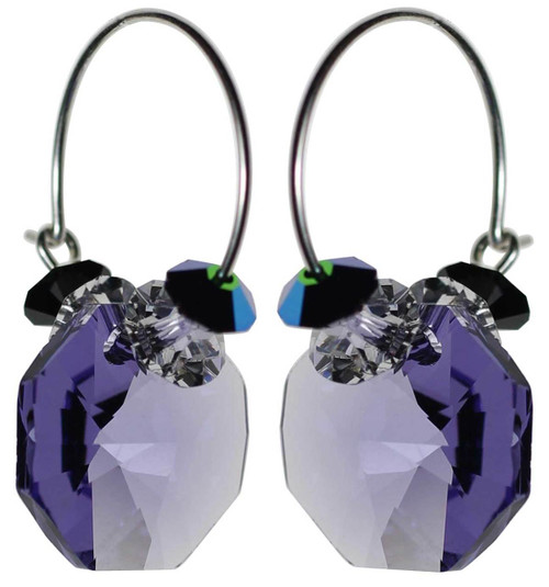 Tanzanite purple crystal and sterling silver earrings