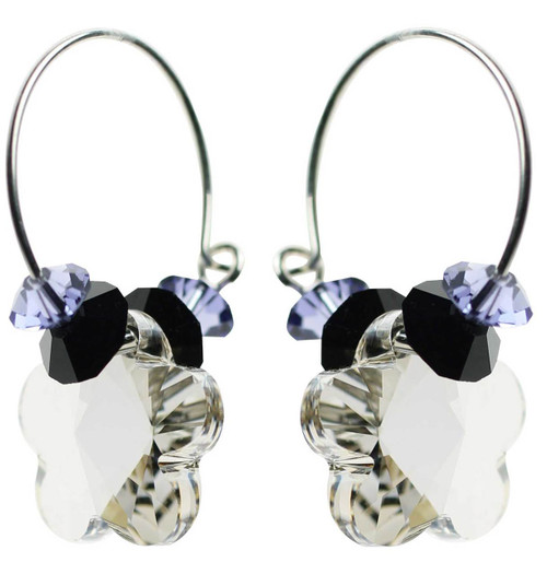 Clear shadow crystal with sterling silver hoop earrings