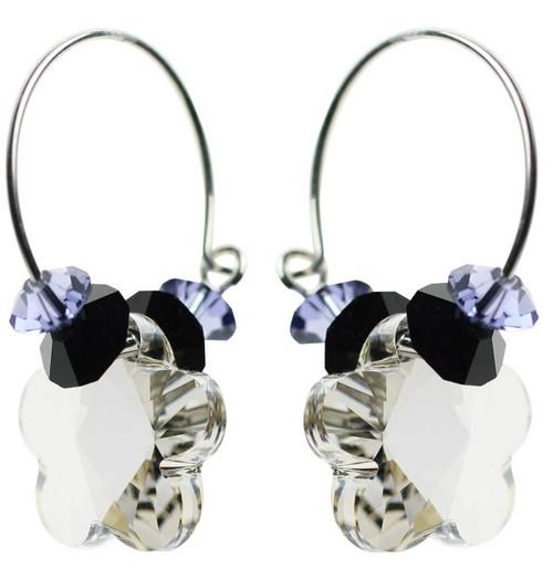 Clear shadow crystal with sterling silver hoop earrings
