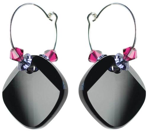 Jet black crystal and sterling silver hoop earrings