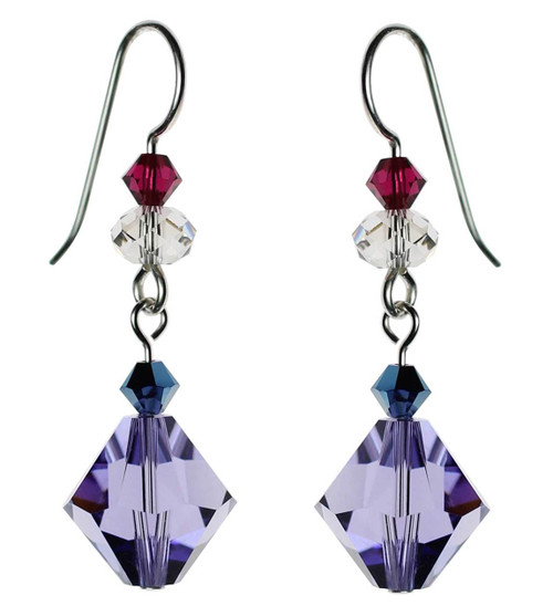 Bi-cone shaped purple crystal and sterling silver earrings.