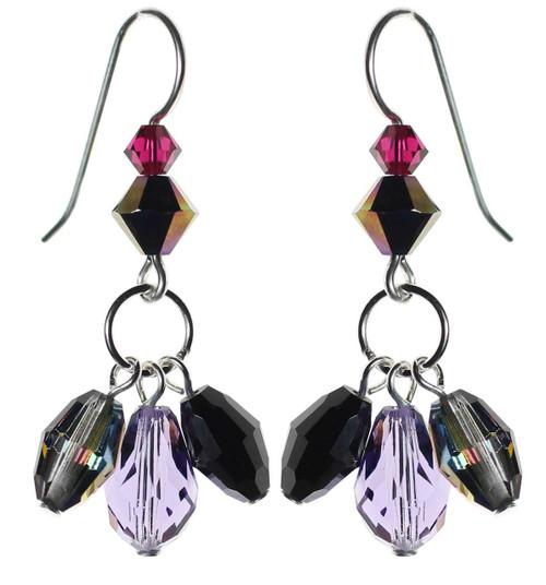 Triple drop crystal earrings. Sterling silver and Swarovski crystal