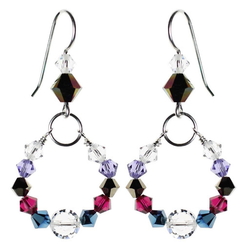 Colorful classic hoop earrings with Swarovski crystal and sterling silver