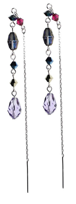 1980's style Swarovski crystal and silver earrings