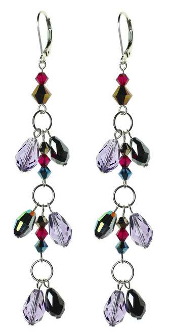 Elegant double droplet crystal and sterling silver earrings.