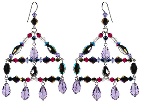 Large chandelier earrings with purple and black Swarovski crystal.