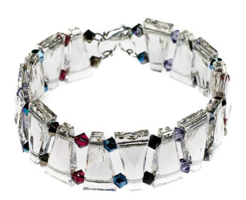 Swarovski crystal cuff bracelet with triangular rare beads