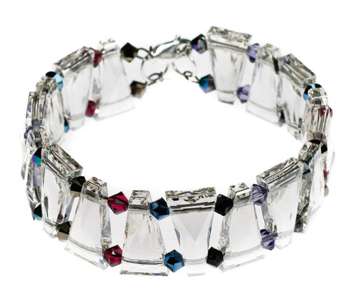 Swarovski crystal cuff bracelet with triangular rare beads