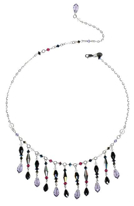 Elegant bib-like necklace with purple and black Swarovski drops