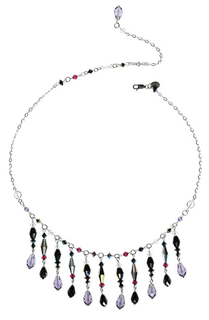 Elegant bib-like necklace with purple and black Swarovski drops