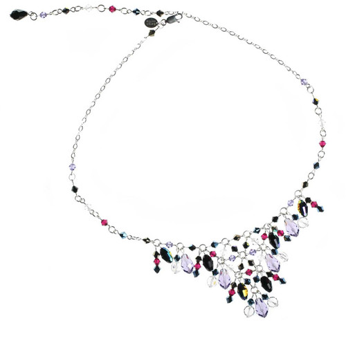 Purple and black v necklace with sterling silver and Swarovski crystal