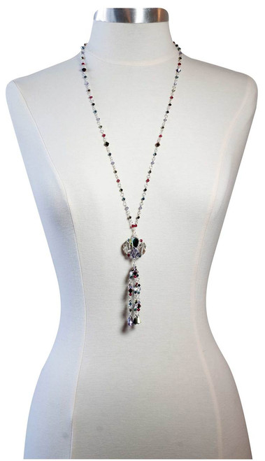 Crystal tassel necklace with sterling silver