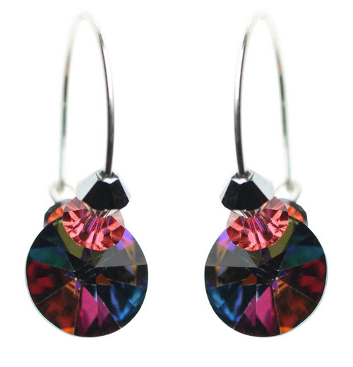 Beautiful rainbow colored vintage crystal hoop earrings.