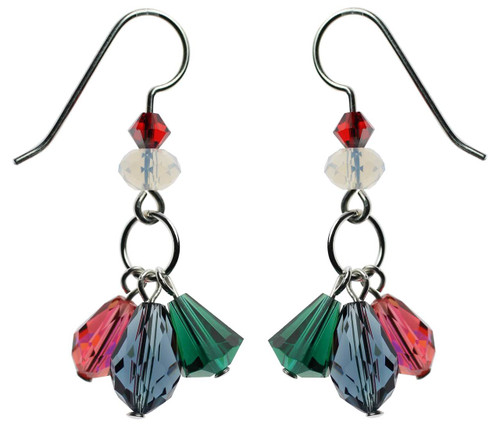 Triple drop crystal earrings. Sterling silver. Christmas in July Collection.
