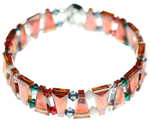 Burnt orange crystal cuff bracelet