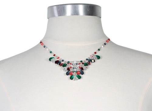 Sterling Silver and Swarovski Crystal V Necklace • 1 of a Kind • Vanguard