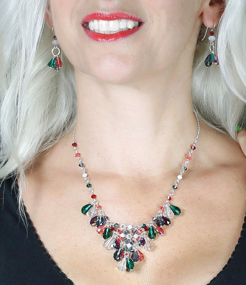 Sterling Silver and Swarovski Crystal V Necklace • 1 of a Kind • Vanguard