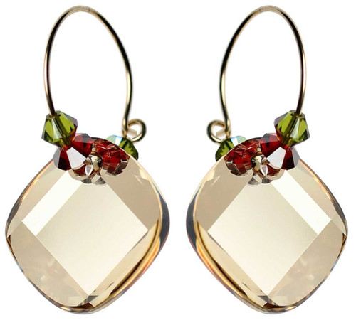 Tan Swarovski crystal 14K gold filled hoop earrings.