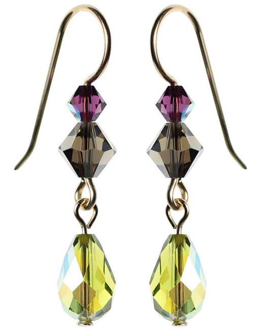 Olive green crystal earrings. Swarovski and gold filled metal.