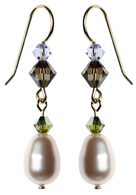 Swarovski white pearl, gold filled dangle earrings.