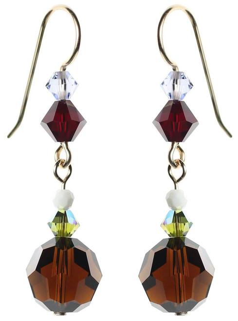 Rare Swarovski crystal mocha earrings. 14K gold filled