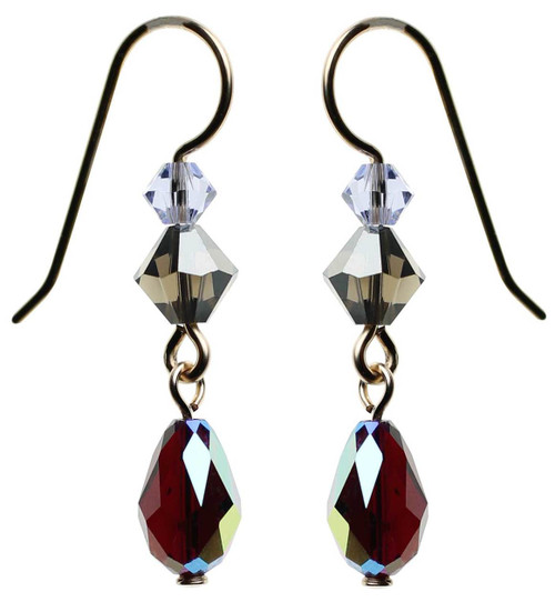 Red AB Swarovski crystal gold filled earrings