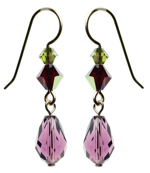 Purple amethyst crystal and gold earrings