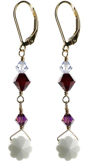 Vintage white crystal flower earrings. Swarovski and gold filled