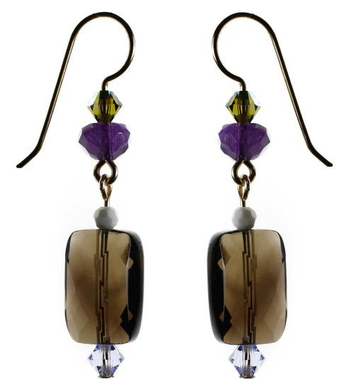 Semi precious smokey quartz and crystal earrings. Swarovski and 14K gold filled