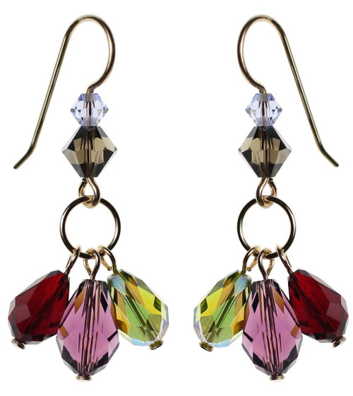 Dangling crystal earrings with purple, olive and red Swarovski on 14K gold filled
