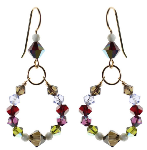 Colorful crystal earrings with 4mm Swarovski and gold filled