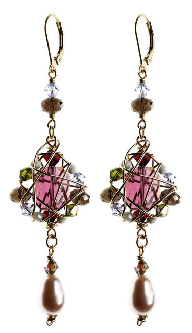 One of a kind crystal cluster earrings. 100% Swarovski and 14K gold filled