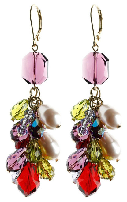 Tassel crystal earrings with gold filled and rare Swarovski