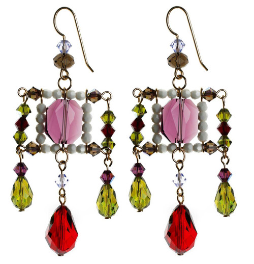 Red,Purple and Olive green crystal statement earrings.