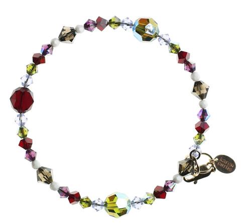 single strand crystal bangle bracelet with olivine green and rare ivory beads.