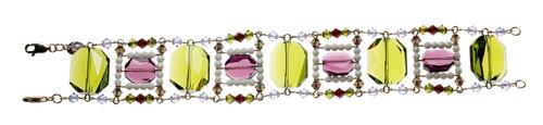 One of a Kind 14k Gold Filled Beaded Swarovski Crystal Pattern Bracelet with Vintage Swarovski Accents • Bohemian Chic