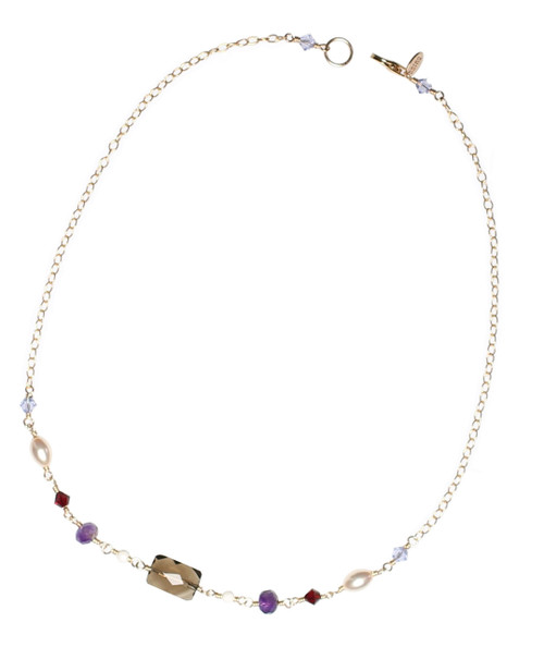 14K Gold Filled Swarovski Crystal and Smokey Quartz Simple Necklace • Bohemian Chic