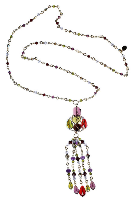 One of a Kind Cluster and Tassel Necklace • Vintage Swarovski Crystal • Bohemian Chic Collection